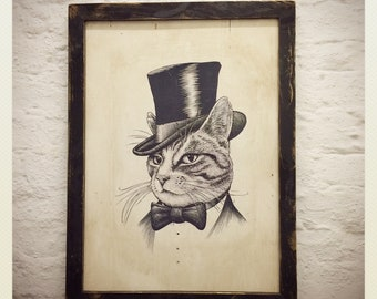 Cat in top hat drawing photo transfer on reclaimed wood