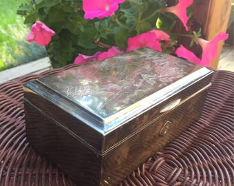 Japanese Jewelry Silver Box / Original Wood and Silver Box / Vintage Japanese Jewelry Box / Jewelry Storage