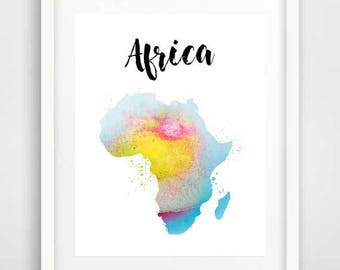 Watercolor map of Africa, wall art, Africa map, map Africa, poster art, African art, wall prints, African map, dorm room decor, nursery art