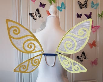 Yellow and White Glitter Fairy Costume Wings