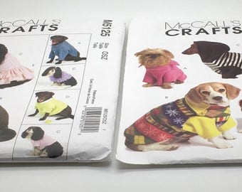 McCall's Crafts M5544 Pet Pullover XS Small And Medium Or M5125 Sewing Pattern Dog Attire Jacket Shirt Top Polo Shirt Skirt  Uncut Large