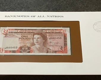 Banknotes Of All Nations Gibraltar 1975 One Pound  GEM UNC Queen Elizabeth P 20a  Franklin Mint Paper Money Souvenir Scrapbook Scrapbooking