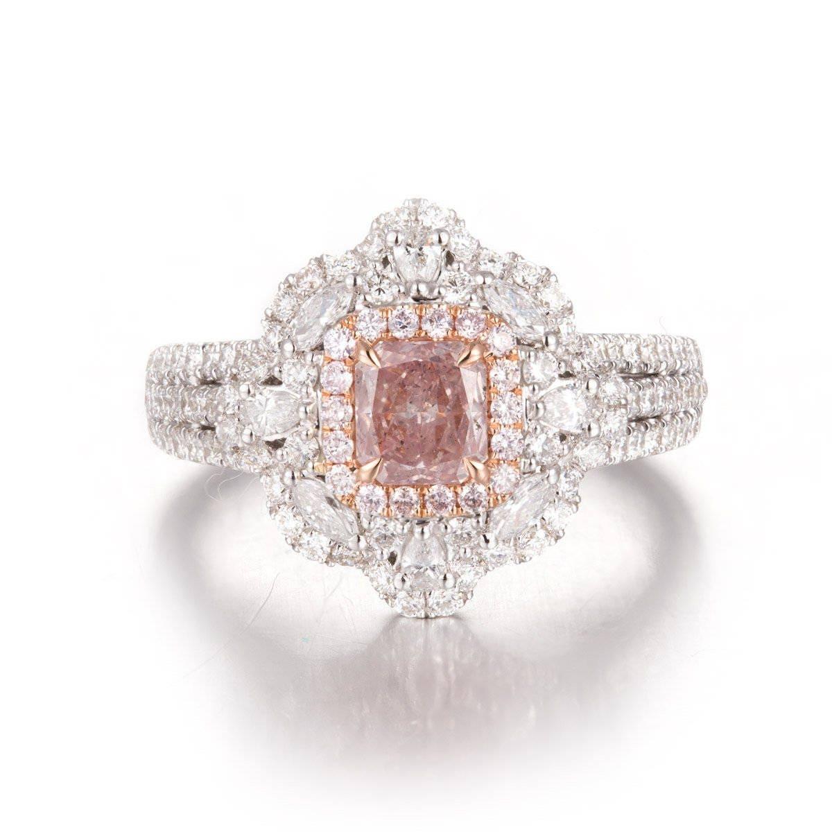 1.61 carat Pink Diamond Ring, Diamond Engagement Ring, 18K white and ...