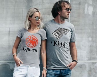 Targaryen and Stark king and Queen His and Her matching sport grey T-shirts set.