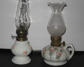 2 Miniature Milkglass Oil Lamps * JAPAN and HONG KONG * Pixie Round Wick Burners