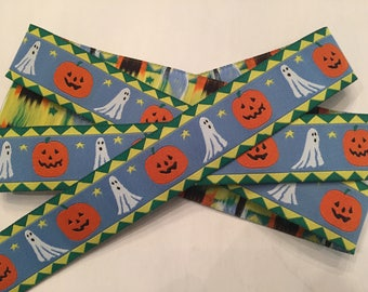 "Halloween Ghosts and Pumpkins 1"" Woven Ribbon"