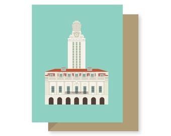 University of Texas Tower, College, Longhorn, Architecture Texas, Austin Greeting Card