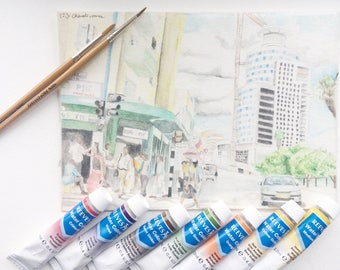 Busy City - Colourful A5 Original Watercolour painting - DDIONYSYSART