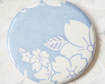 Pocket mirror sakura cherry blossoms on blue background, 56 mm, Japanese bag mirror,