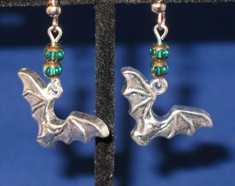 Flying Halloween Bat and Green Bead Dangle Earrings