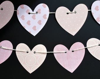 Pink Heart Banner, Heart garland, paper hearts, wedding decor, heart bunting, Valentine's Day decor, Girls party bunting, Baby shower banner