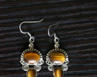 ON SALE Unique TIGER'S Eye Silver Earrings