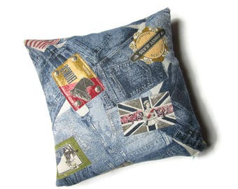 destash: cover cushion, 40 x 40 cm, denim, patchwork and labels