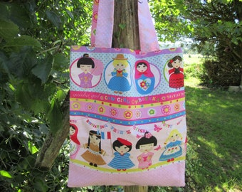 child bag, tote bag kids, library, pink, Fuchsia, multicolor bag