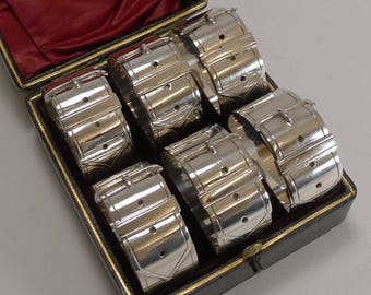 Six Victorian Belt Buckle Napkin Rings c.1890 - Silver Plate