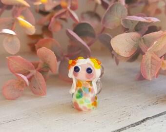 Lampwork Fairy Bead - Fairy Charm - Lampwork Focal Beads - Fairy Focal Pendant - Flower Fairy Bead - Glass beads for Jewellery Making -