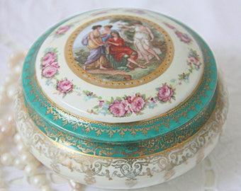 Vintage Round Porcelain Trinket Box, Francois Boucher and Pink Rose Decor, Royal Vienna Style