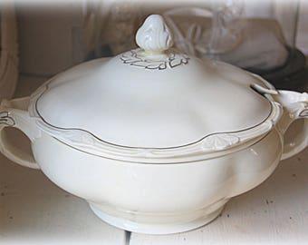 Vintage Grindley Large Porcelain Soup Dish/Bowl with Lid, England
