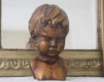 Vintage Composite Statue, Child Bust, Paridur, Dutch Art