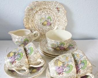 Lovely Vintage Tea Set, Garden House Pottery, Four Person's Tea Service, Crinoline Lady Decor, England