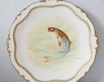 Set of Three Antique Charger Plates , Unique Hand Painted Fish Decor, Artist Painter J Barin, Limoges France