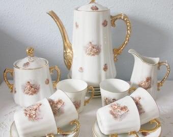 Rare Porcelain Six Person's Coffee Service, Cherub Decor, De Fuisseaux Baudour