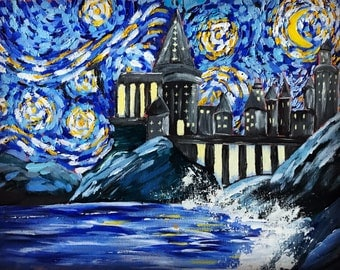 PRINT ONLY: Stary Night At Hogwarts| Harry Potter | School | Whichcraft | Impressionistic | Gift Ideas | Fiction | Wizardry | Hogwartians