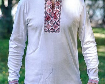 Ukrainian Embroidered T-shirt(vishivanka) with long sleeve and  white  pattern