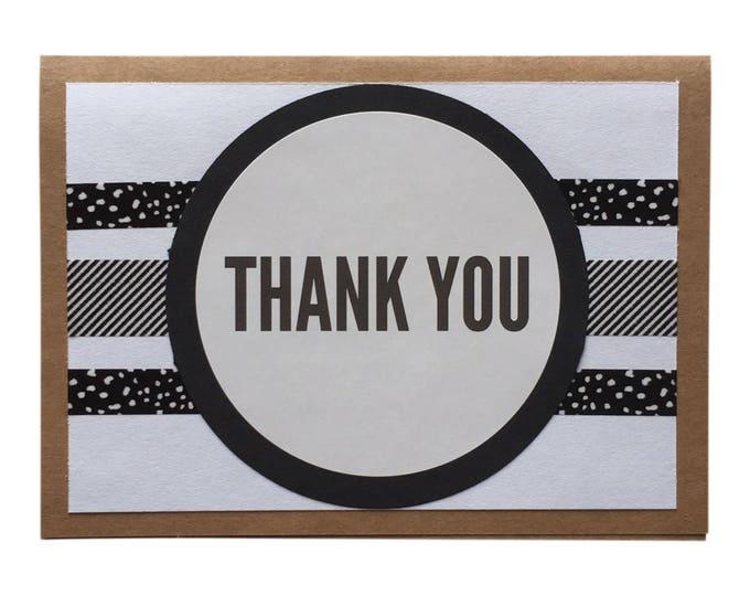 SET OF 4 - Thank You Cards - neutral thank you cards, thank you card set, black & white