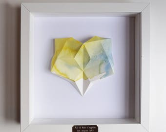 Framed Personalised Origami Yellow Watercolour Heart Art Piece