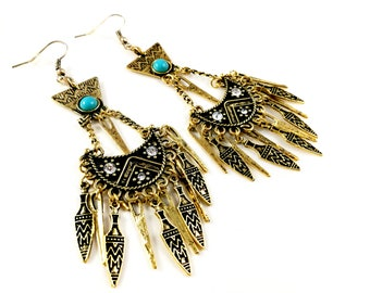 Boho Bohemien Turquoise Antique Gold Earrings For Her Women Jewelry