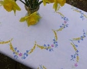 Vintage Linen Embroidered Tablecloth 102x103cm