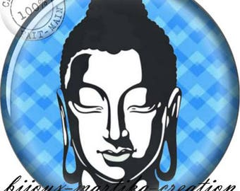 Buddha meditation blue 25mm, 20mm, 18mm, 16mm resin Cabochon.