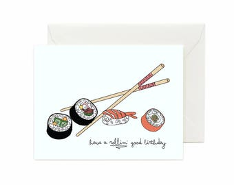 "Sushi "" Have A Rollin' Good Birthday"" Greeting Card"