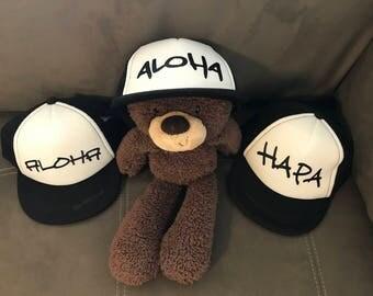 Baby Hat, Snapback Hat, Baby Trucker Hat, Sample Hats, Aloha, Hapa