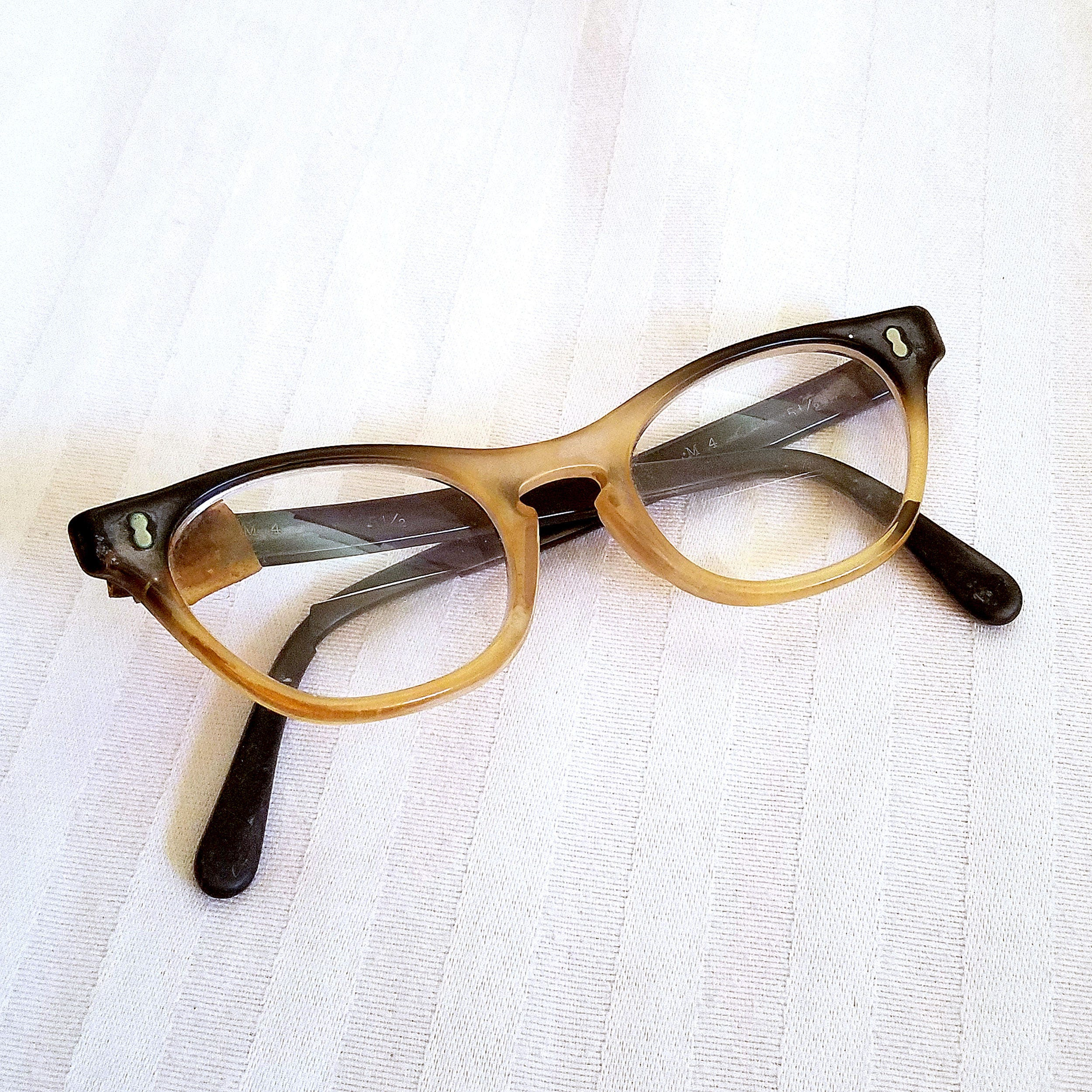 Vintage Two Toned Cat Eye Glasses By May Optical, Marked M4 Size 5 1/