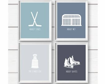 Hockey Art Prints, PRINTABLE Art, Hockey Wall Art Prints, Hockey Decor, Kids Wall Art, Nursery decor, Boys room art, Sports Art Prints