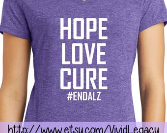 Glitter Hope Love Cure #EndAlz Womens Soft V-neck