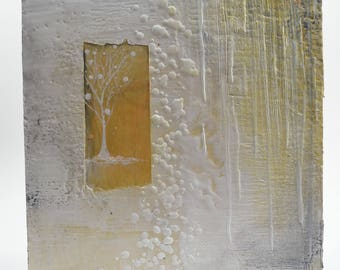 Winter White - an encaustic mixed media 12x12 original art piece