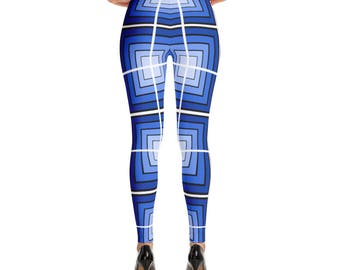 3D Blue Geometric Leggings
