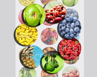 Mixed fruits bottle cap images, Fruits bottle cap IMAGES 1 inch -  1 Inch Circles INSTANT DOWNLOAD