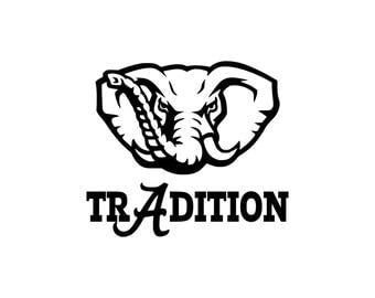 TrAdition Alabama Inspired SVG Cut File Bama Fans Football Tradition Continues Crimson Tide Inspired Elephant Word Art