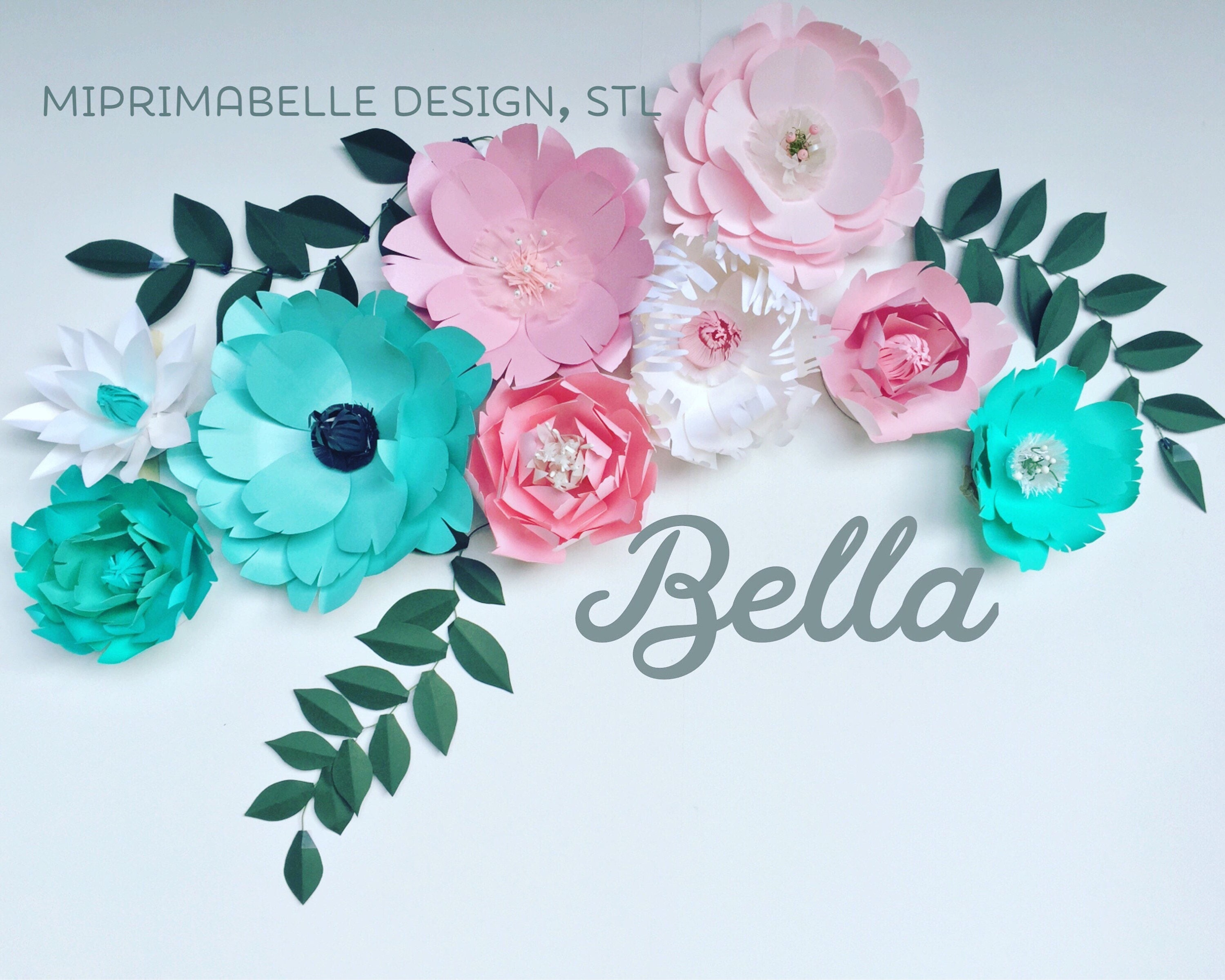 Turquoise Wall Decor Paper Flowers Wall Decor Baby Girl