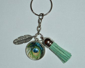 key ring or bag eye and feather jewelry