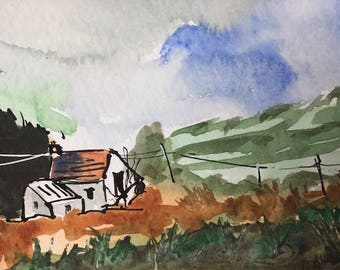 Landscape ORIGINAL Miniature Watercolour 'Moorland Cottage' ACEO, Cottage, For him, For her, Home Decor, Wall Art, Gift Idea, Free Shipping
