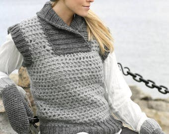 Vest, Crochet and knit waist coat in  100% wool, for winter, made by hand,  gift for her