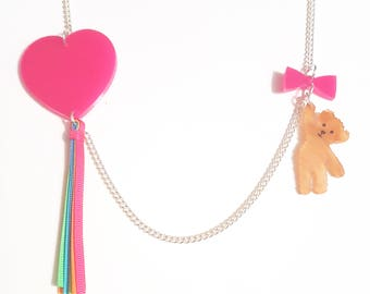 Kite necklace - laser cut acrylic heart with grogain ribbons and teddy bear