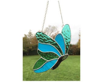 Stained Glass Blue Turquoise Butterfly Sun-Catcher Gift Decoration