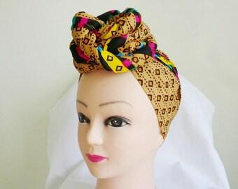Gold and Brown Multi Stripes Ankara Head Wrap, DIY head tie, Stylish African head scarf, Fabric hair accessory – Made to Order
