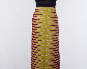 Berry Red and Yellow Pulse African Wax Print Lapa Wrap Skirt - Made to Order